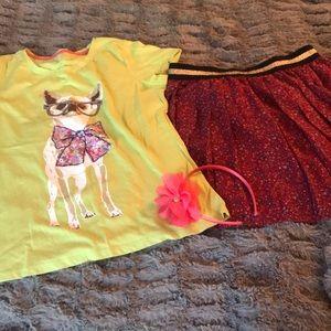 Pleated floral skirt 14 puppy tee HEADBAND Gap NEW